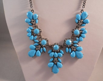 Beaded Necklace with Blue Beads and Clear Rhinestone Pendants on a Grey  Tone Chain