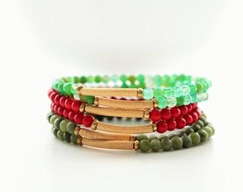 Gemstone Beaded Corrugated Brass Tube Stackable Bracelets