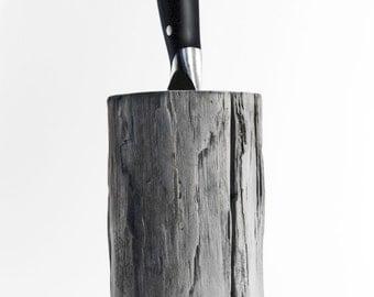Driftwood knife Block. Kitchen centerpiece. Scandinavian design. Modern knife Block.