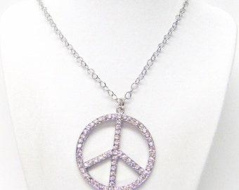 Large Rhinestone on Silver Peace Symbol Pendant Necklace