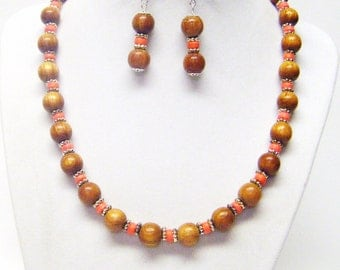 Round Natural Bayong Wood Bead Necklace & Earrings Set