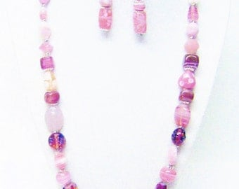 Mixed Shape/Size/Color Pink Foil Lined Glass Bead Necklace & Earrings Set