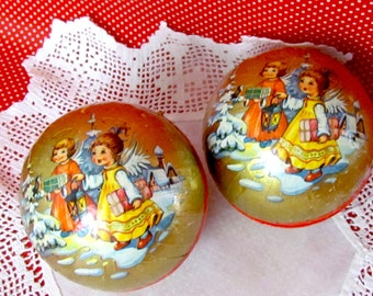 Vintage German Candy Container Paper Mache Christmas Angel Pair