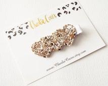 Glitter Heart Hair Clip- Champagne Glitter Hair Clip, Baby/Girls Glitter Heart Hair Clip by Charlie Coco's