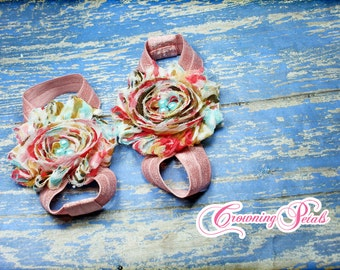 Barefoot Sandals, Baby Shoes, Shabby Flower Baby Sandals, Infant Foot Accessory, Baby Photo Prop, Baby Elastic Sandals, Fabric Flower Shoe