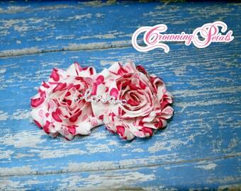 Pink Shabby Chiffon Headband, Hair Bow, Valentine's Headband, Baby Girls Bows, White, Pink, Fuchsia Hair Accessories, Magenta Pink Headband