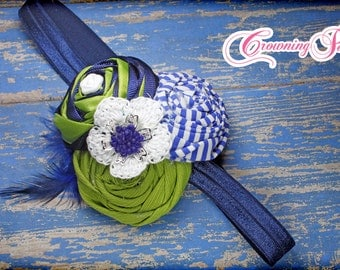 Navy Blue, Lime Green Headband, Royal Blue Hair Accessory, Hair Clip, Flower Hair Piece, Hair Accessories, Fabric Flower Hair Bow, Infant