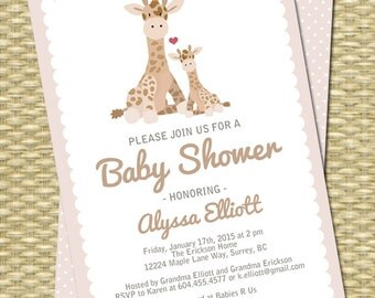 Baby Shower Invitation Gender Neutral Baby Shower Taupe Baby Giraffe and Mom Baby Boy Baby Girl, Any Color, Any Event