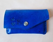 Electric blue leather card case, leather business card case, credit card case