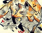 8 x 10 inch fox art print - illustration art - watercolor art print - woodland decor - wall art - giclee print - animal art