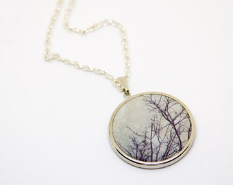 Nature Photography Necklace, Photo Jewelry, Pendant Necklace, Winter Tree Branches, Modern Jewelry, Rustic Natural Woodland, Abstract