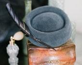Slate Blue Pillbox hat Vintage  Mid Century Jackie O felt Handmade Millinery
