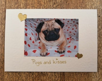 Pug Dog card - Pugs & Kisses card for any occasion
