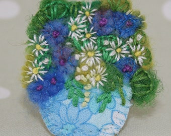 Embroidered Brooch - blue flowers in appliqued bowl stitched by Lynwoodcrafts
