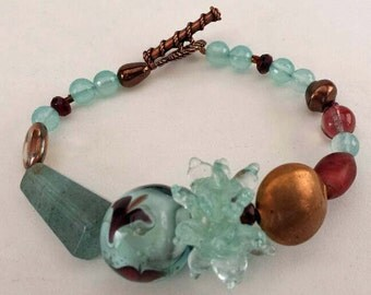 Crimson Bracelet - aquamarine copper magenta - beaded - Venetian bead - lampwork beads