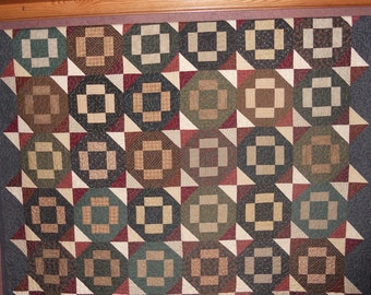 Fireside Cozy Quilt, 61x80 inches, lap quilt, couch quilt, warm colors of brown, green, blue, red with off white.  Handmade, materialthings2