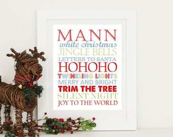 Christmas Print. Subway Art with Family Name Digital Download PDF
