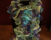 SALE - Ruffle Scarf - Handknit - 6 Feet Long - Light Purple, Light Aqua, Light Yellow and Light Green
