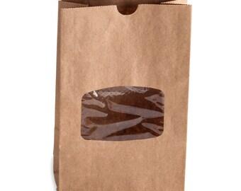 10 Window Brown Paper Cookie Bag / Coffee Bag / Donut Bag with Window and Tin Tie Closure/Window Bag