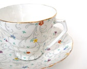 Radfords Crown Fine Bone China Tea Cup and Saucer, Floral and Scroll Motif, Gold Gilt, England