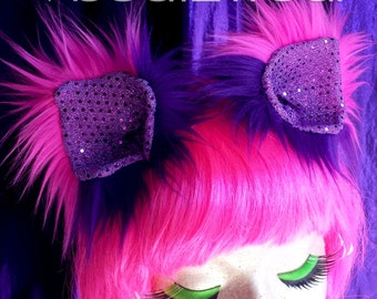 MADE TO ORDER Furry clip in Cheshire Cat inspired kitty ears cat ears wolf animal costume cosplay headband hair clips