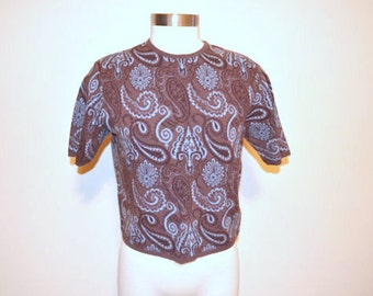 Brown Paisley Women's Shirt, Short Sleeved Brown Shirt, Blue Paisley Print, Pullover Blouse, Mad Men, Secretary