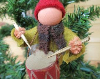 Christmas Ornament - Little Drummer Boy, Clothespin Ornament, Felt, Nativity