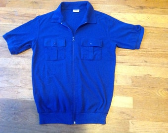Blue Knit Zippered Polo Shirt, Banded, Small