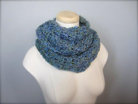 Crochet Light Blue, Periwinkle, Light Green, Lavender Handmade Infinity Scarf, Women's Scarf, Men's Scarf, Unisex Scarf