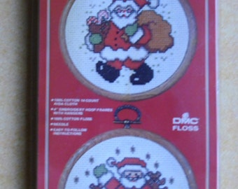 Christmas Craft Kit - Vogart Crafts 2930A - Christmas Doubles - 2 Santa Claus Pictures- Embroidery Kit - Frame and Hanger - Made in USA