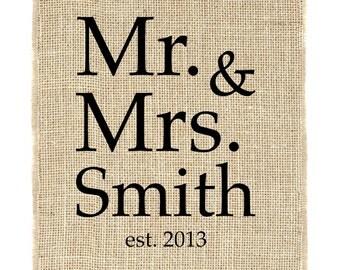 Mr. & Mrs. Monogram, Bridal Monogram, Burlap Monogram, Unframed