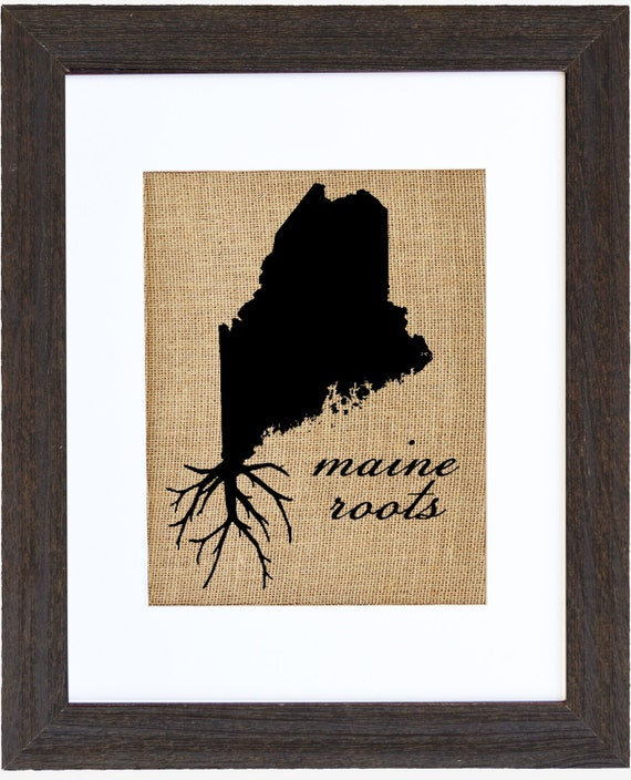 Maine Roots Wall Art Burlap Art Custom Wall Art State Wall