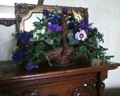 Wicker Basket Purple Flower Arrangement