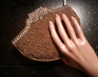 SALE Brown Beaded Clutch