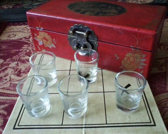 SALE Asian Shot Glass Tic Tac Toe in Leather Box