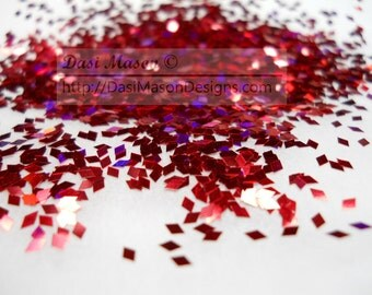 Holographic Red 1 mm Diamond Shaped Glitter