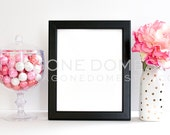 SALE Styled Stock Photo Photography Black Frame for Art Prints Instant Download Digital File Graphic Design Pink Peonies