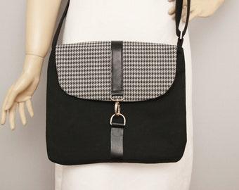 Messenger bag, Crossbody bag , shoulder bag , Summer shoulder bag,fabric OOAK bag,black,grey
