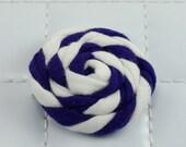 Purple and White Rosette Clip