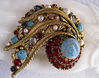 Vintage Karu Arke Brooch Ornate Abstract, Comet Tail Spray, Multi Mixed Stones Faux Turquoise Matrix, Pearls, Deep Red Rhinestones