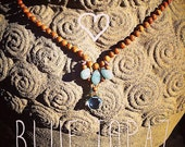 Blue Topaz Sandalwood Necklace
