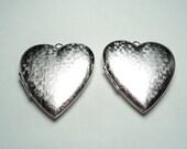 2 - Vintage  matte silver plated basket weave Heart Lockets - m39ms