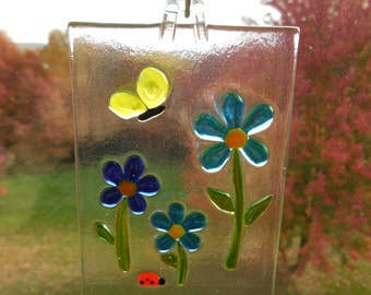 Blue Fused Glass Flower Sun Catcher