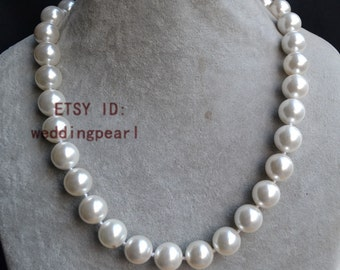 larger pearl necklaces, 20 inches 14-14.5mm off white shell pearl necklaces, big pearl necklaces, bridesmaids necklace, bride necklace