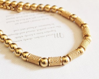 Vintage Gold  Necklace by Napier,Gold Statement Necklace, Gold Bead Necklce