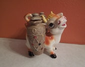 Vintage Tilso Cow Caddy Hand Painted Japan Kitchen Decor