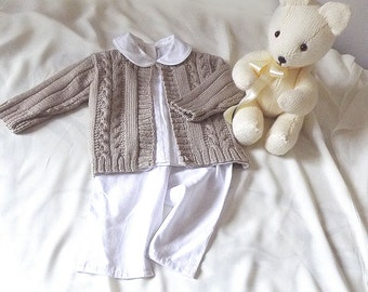 Baby / Child Sweater with Cables and Rib sleeve P060