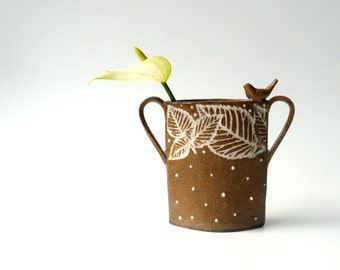 Little Ceramic Vase with Leaves and A Songbird, Mother's Day Gift, Handmade Minimalist, Brown and White Budvase by Cecilia Lind, StudioLind