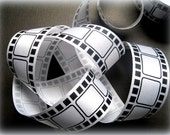 "Movie Film Ribbon, Black / White, 1 3/8"" inch wide, 1 yard, For Mixed Media, Gifts, Scrapbook, Home Decor, Accessories"