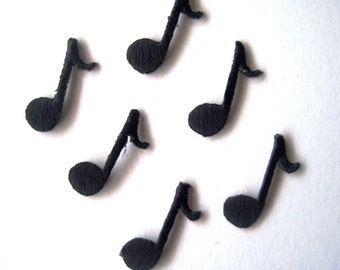 Musical Quarter Note Iron-On Embroidered Appliques, 5/8 X 1 inches, Black x 6, For Apparel, Stationary, Scrapbook, Apparel, Mixed Media